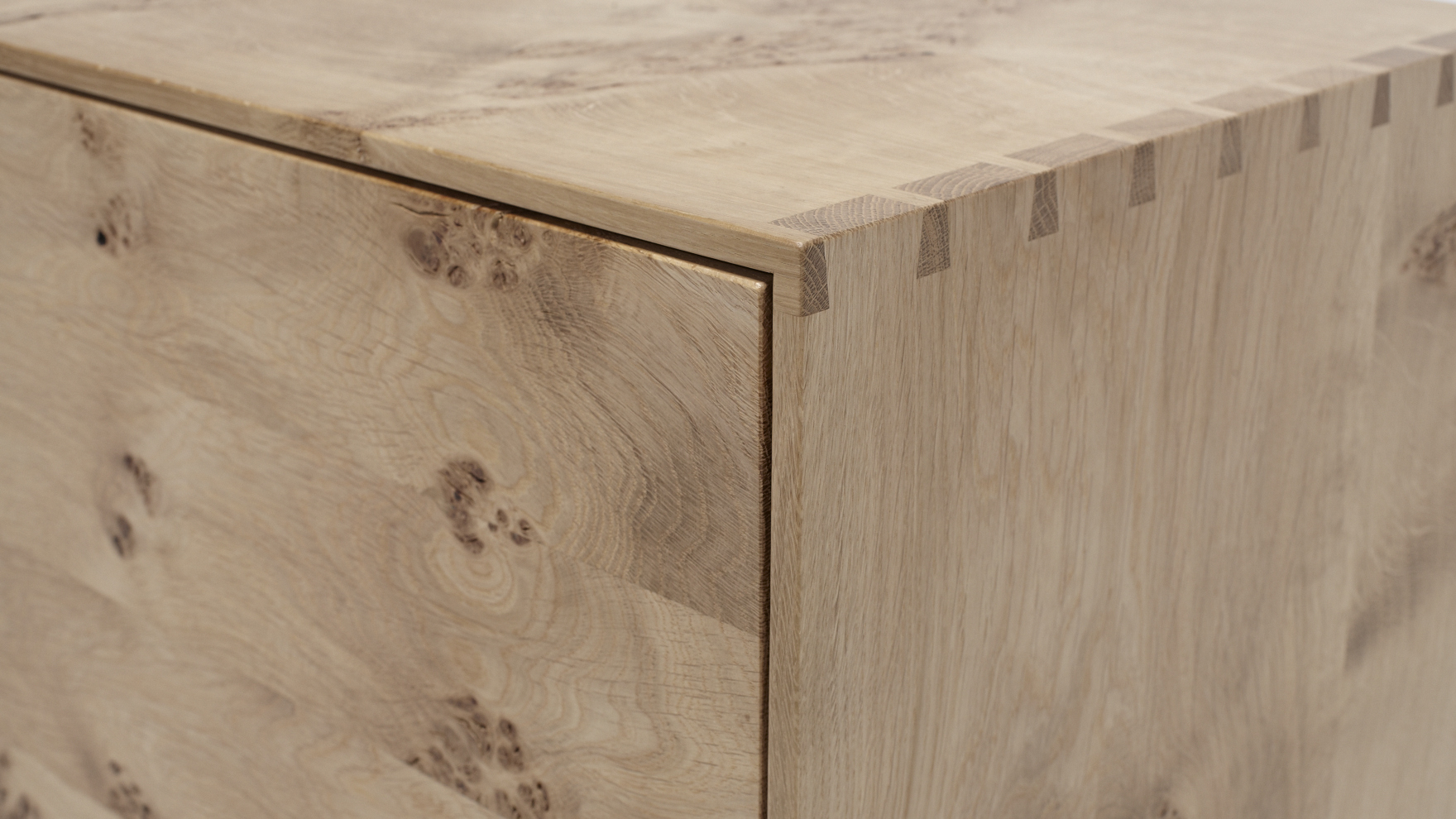 This Ottoman is built from solid oak using traditional cabinet making techniques.